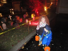 Abby & Aiden at one of the houses trick or treating
