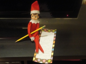Elf on the Shelf leaving note telling us to call him Blizzard.