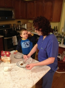 Aiden & Melissa getting Ginger Snaps out for Santa