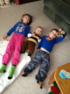 Abby, Macklan & Aiden just laying around. I have a feeling that Macklan may not always be the smallest.