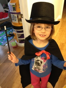 Abby with her new magician's costume courtesy of Uncle Shawn & Auntie Megan