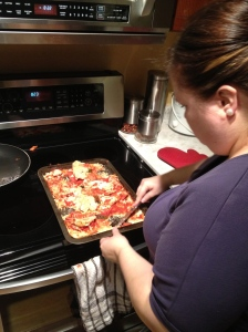 Megan with what was left of the pizza her & melissa tried to cook