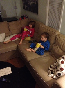 Abby & Aiden eating popcorn & watching Brave Movie for the first time