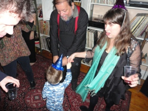 Aiden dancing with some of the guests at about 1:00am. Went to bed shortly after this.