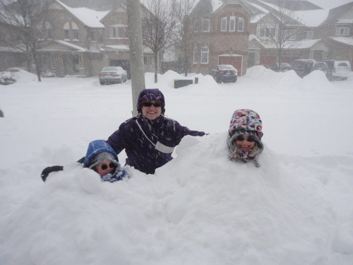 Mommy's wish come true, 2 kids buried in the the snow ;)