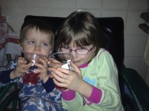 "Kids drinking ""New Year's Wine"" (Blood Orange Italian Soda)"