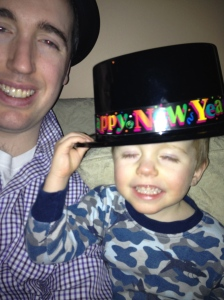 Aiden & Dad partying sometime after midnight!!