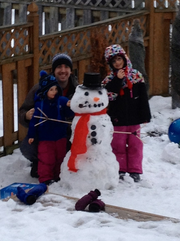 Dad, Abby & Aiden with first snowman of the season