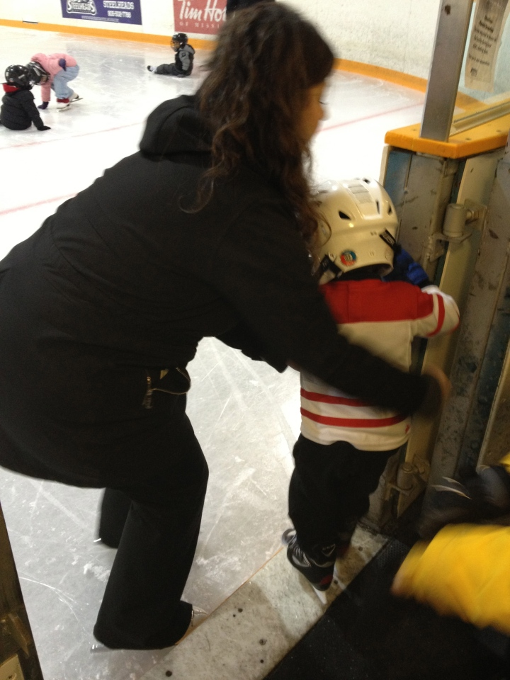 Aiden getting onto the ice
