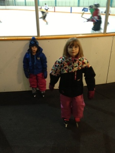 Abby waiting to go on the ice for her first lesson.