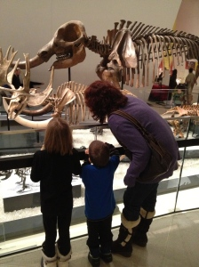 Melissa & the Kids looking at Ice Age Animals