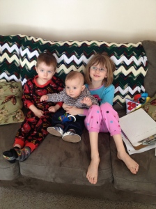 Aiden, Macklan and Abby just hanging out on Sat morning.