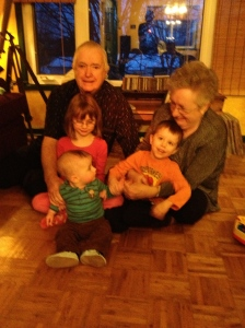 Mamma, Papa, Abby, Aiden and Macklan together in the Allison's living room