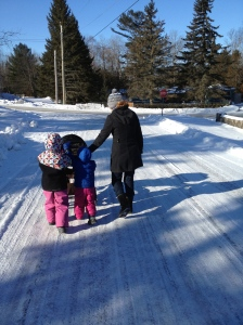 Abby, Aiden & Auntie Julie pushing Macklan to breakfast
