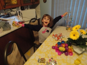 Abby celebrating her egg collection.