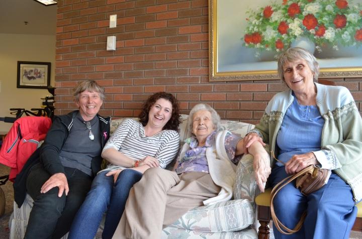 Linda, Melissa, Grandma Rose & joyce laughing at an inside joke told by Rose