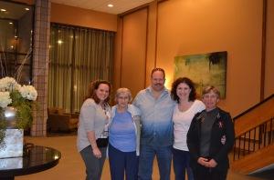 Chantale, Joyce, Aaron Melissa & Linda in the lobby of the hotel