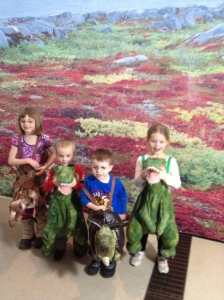 Abb, William, Aiden & Ava playing dress-up at the ROM