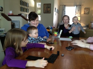 Abby, Aiden, megan, Julie & Macklan at the Millers for lunch.