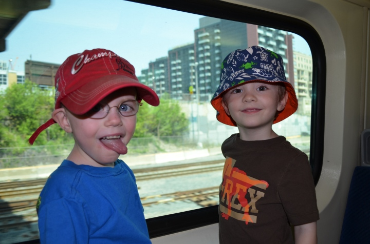 Aiden & Willy on the Go Train