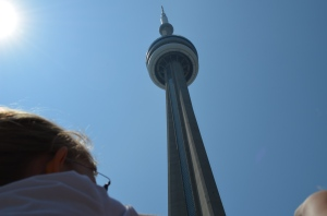 Abby looking up at CN Tower