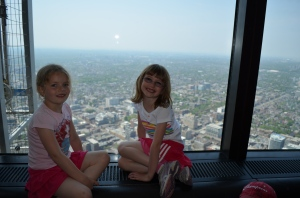 Ava & Abby at the top of the CN Tower