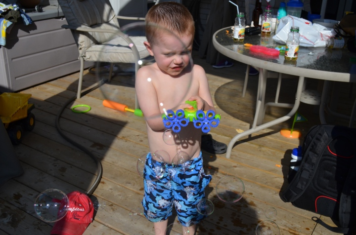 Aiden shooting bubbles at me