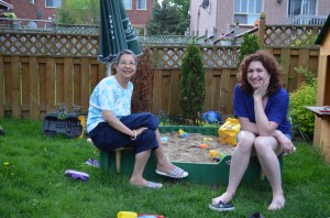 Sandra & Melissa hanging out in the yard