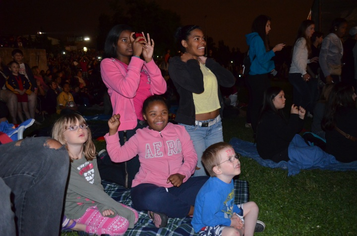 Abby, & Aiden watching the fireworks with Dae-Lynn, Danelle and Dalane.