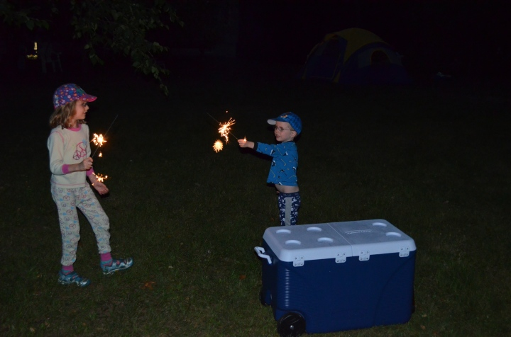 Kids playing with Sparklers