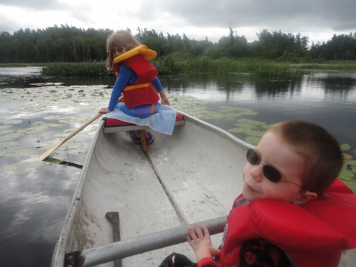 Kids going canoeing on the river