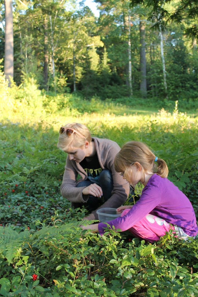 Shauna and Abby picking berries