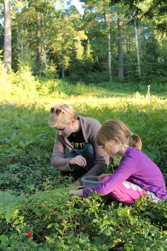 Shauna and Abby picking berries