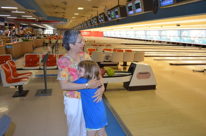 Abby hugging Popo Sandra