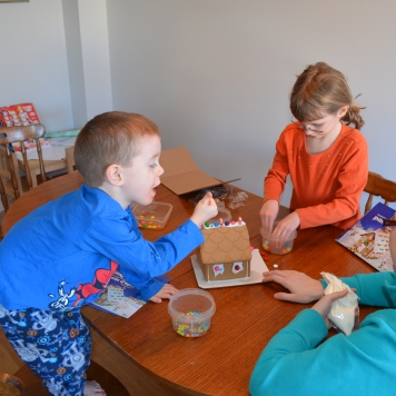 Making family gingerbread house