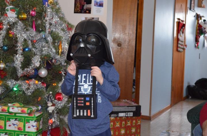 Aiden wearing Darth Vader mask