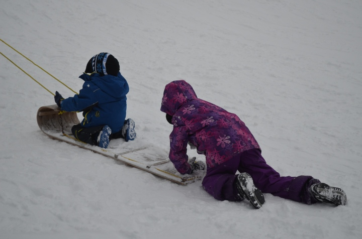 Aiden & Abby being pulled up the hill on the toboggan