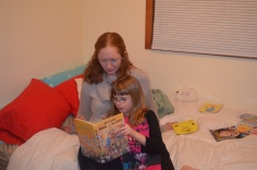 Auntie Julie reading with Abby