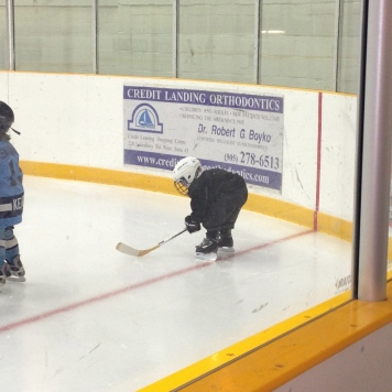 Aiden on the ice for the first time