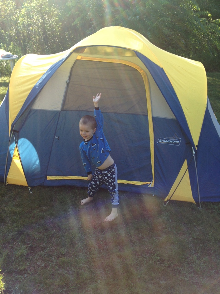 Aiden after camping for first time