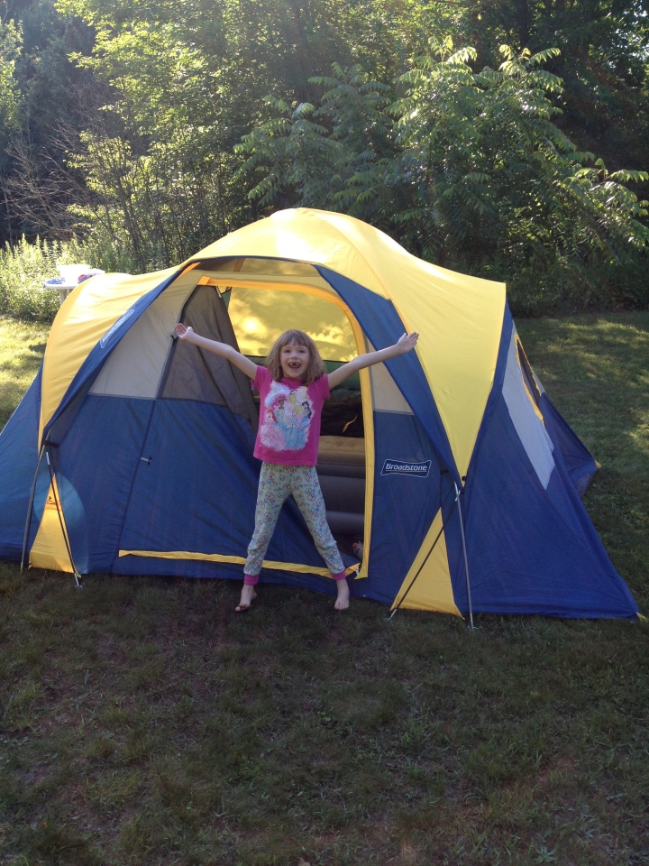 Abby in the morning after camping for first time!!