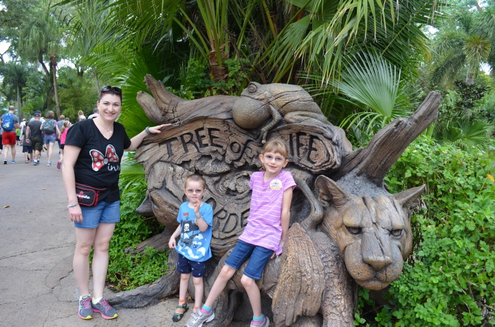 Melissa and the Kids in front of the Tree of Life