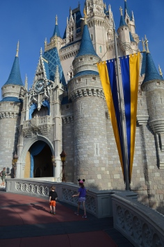Kids walking up to Cinderella's Castle
