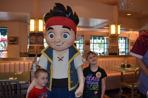 The kids with Jake, the Neverland Pirate
