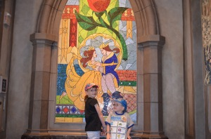 "Abby and Aiden inside ""Be Our Guest Restaurant"""