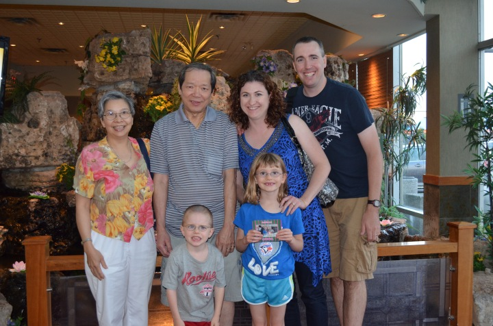 Sandra, Ted, Melissa, Peter, Aiden and Abby at the Mandarin