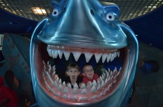 The kids inside Bruce's Mouth from Nemo