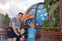 Melissa, Aiden and Abby in Downtown Disney