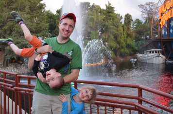 Peter having fun with kids in Downtown Disney