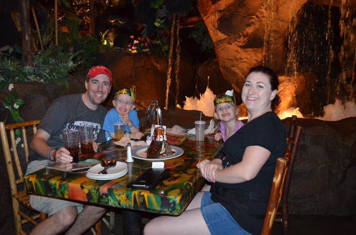 The Family Eating at the Rainforest Cafe